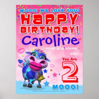 """poster del cumpleaños del MOO de 18x24"""" Póster"""