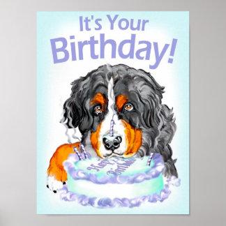 Poster del cumpleaños del perro de montaña de Bern