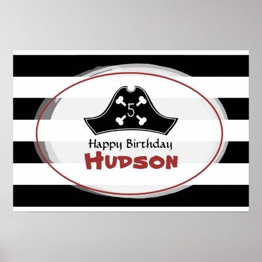 Poster del cumpleaños del pirata