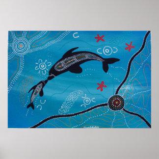 Poster del delfín y del becerro por Mundara Póster