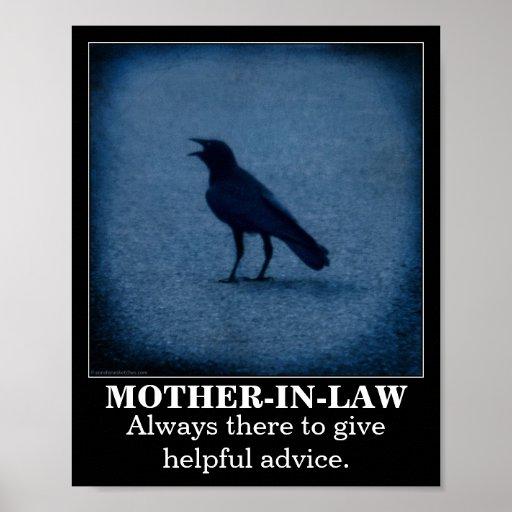 Poster del demotivational de la suegra del cuervo