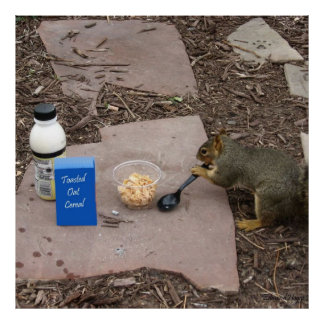 Poster del desayuno de la ardilla que ase