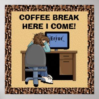 Poster del descanso para tomar café