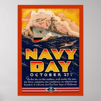 Poster del día de la marina de guerra del vintage