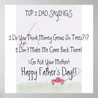 Poster del día de padre de los refranes del papá…