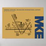 Poster del diagrama del aeropuerto de Milwaukee