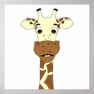 Poster del dibujo animado de la jirafa