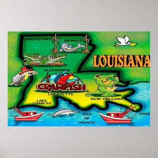 Poster del dibujo animado del estado de Luisiana