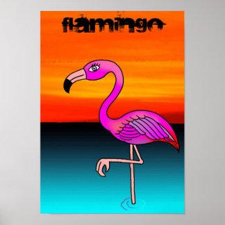 Poster del dibujo animado del flamenco