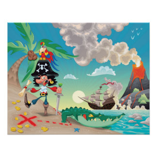 Poster del dibujo animado del pirata