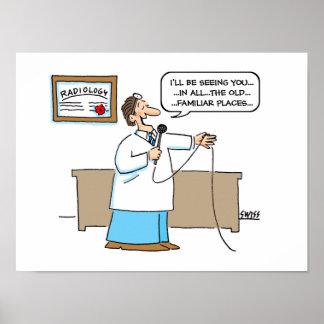 Poster del dibujo animado del radiólogo póster