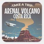 Poster del dibujo animado del vintage de Costa Pegatina Cuadrada