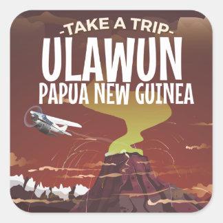 Poster del dibujo animado del vintage de Ulawun Pegatina Cuadrada