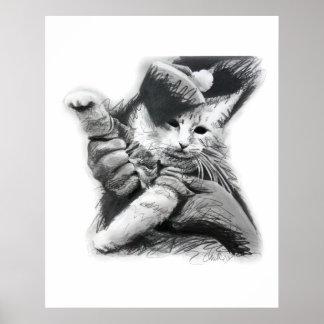 Poster del dibujo de lápiz del gato del teclado