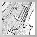 Poster del dibujo del violín o de la tinta de la v
