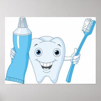 Poster del diente y del cepillo de dientes póster