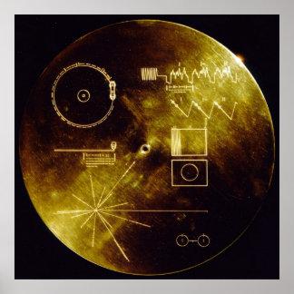 Poster del disco de oro del viajero póster