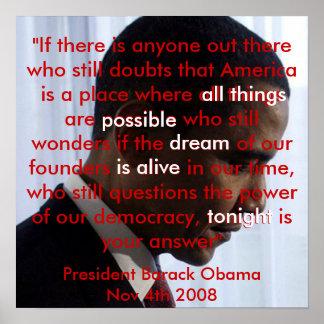 Poster del discurso de Obama del sueño americano a