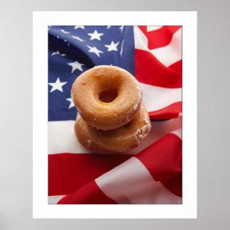 Poster del diseño de la bandera americana y de los