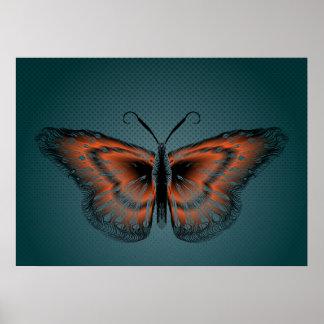 Poster del diseño del contorno de la mariposa