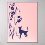 Poster del diseño del gatito de las flores N de la