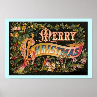Poster del diseño floral de las Felices Navidad Póster