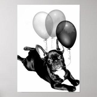 Poster del dogo francés del cumpleaños