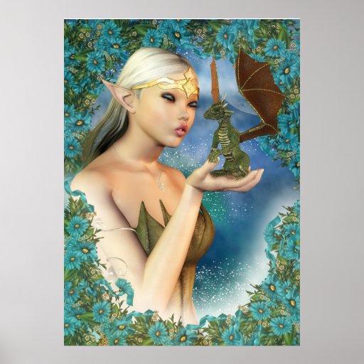 Poster del dragón y del duende, arte de la fantasí
