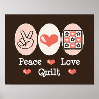 Poster del edredón del amor de la paz