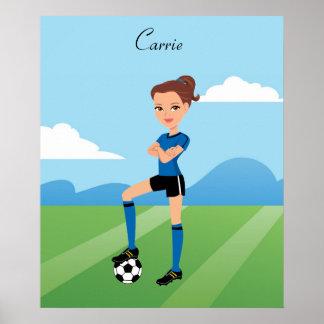 Poster del ejemplo del jugador de fútbol del chica