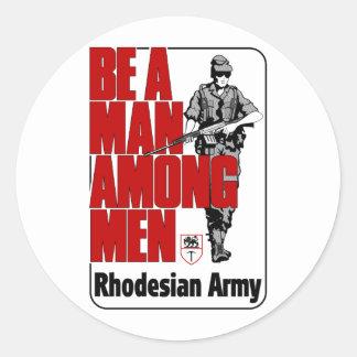 Poster del ejército de Rhodesian Pegatina Redonda