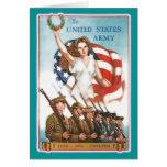 Poster del ejército del vintage con señora Liberty Tarjeton