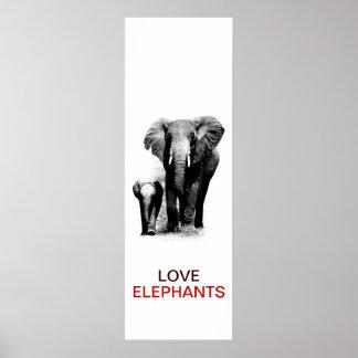 Poster del elefante de BW y del elefante del bebé Póster