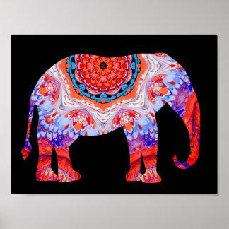Poster del elefante del caleidoscopio en azul y na póster