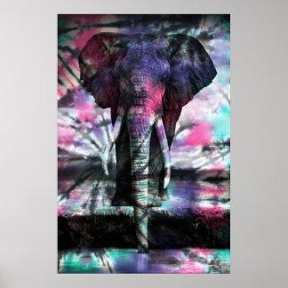 Poster del elefante del teñido anudado
