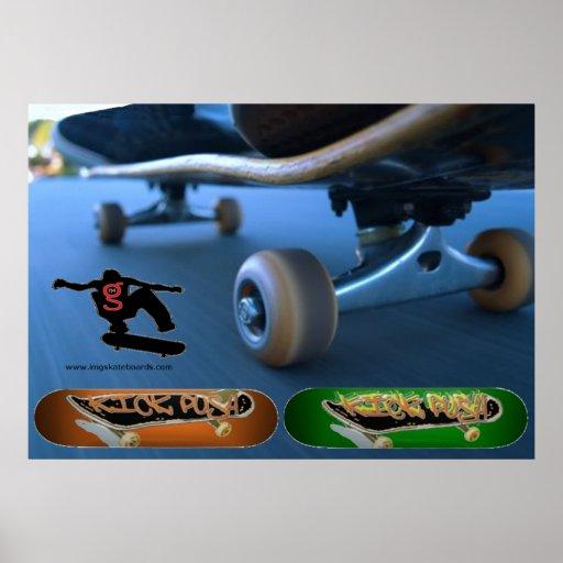 Poster del empuje del retroceso (el andar en monop