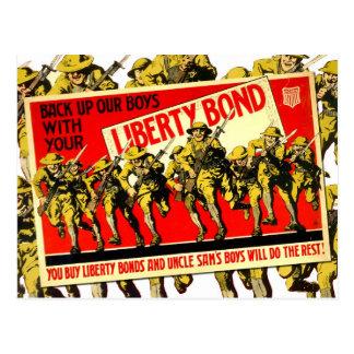 Poster del enlace de la libertad de WWI con los so Tarjeta Postal
