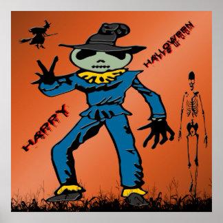 Poster del espantapájaros de Halloween