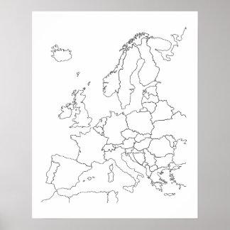 Poster del esquema del espacio en blanco del mapa póster