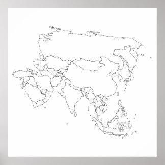 Poster del esquema del mapa de Asia