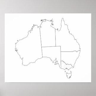 Poster del esquema del mapa de Australia