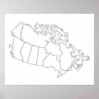 Poster del esquema del mapa de Canadá