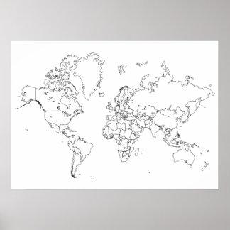 Poster del esquema del mapa del mundo póster