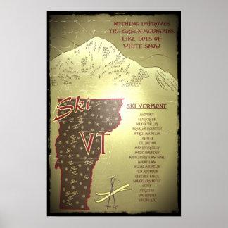 Poster del esquí de la apariencia vintage del VT d