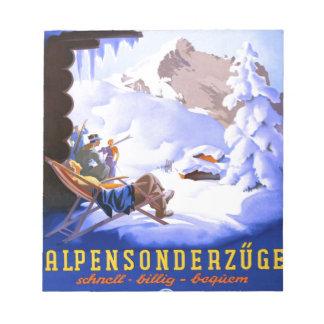 Poster del esquí del vintage, Alpensonderzuge, Ale Blocs