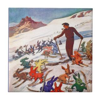 Poster del esquí del vintage, Arlberg, St Antón Azulejo Cuadrado Pequeño