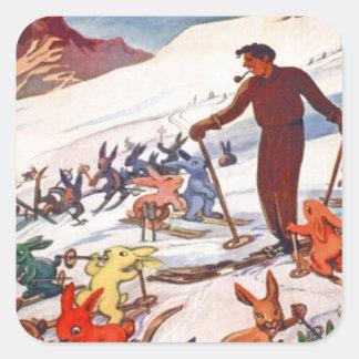 Poster del esquí del vintage, Arlberg, St Antón Pegatina Cuadrada