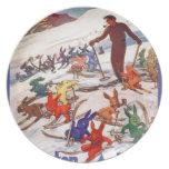 Poster del esquí del vintage, Arlberg, St Antón Plato