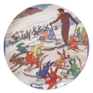 Poster del esquí del vintage, Arlberg, St Antón Platos Para Fiestas
