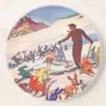 Poster del esquí del vintage, Arlberg, St Antón Posavasos Personalizados